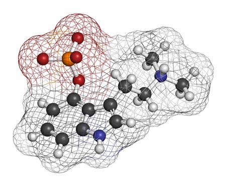 hidrogeno: La psilocibina mol�cula hongo psicod�lico. Prof�rmaco de psilocina. Los �tomos se representan como esferas con codificaci�n de colores convencionales: hidr�geno (blanco), carb�n (gris), ox�geno (rojo), nitr�geno (azul), f�sforo (naranja).