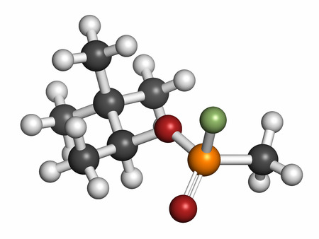 Soman nerve agent molecule (chemical weapon). Atoms are represented as spheres with conventional color coding: hydrogen (white), carbon (grey), oxygen (red), phosphorus (orange), fluorine (light green).
