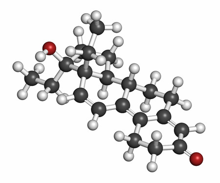progesterone: Tetrahydrogestrinone (THG) anabolic steroid molecule. Atoms are represented as spheres with conventional color coding: hydrogen (white), carbon (grey), oxygen (red). Stock Photo