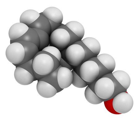 hidrogeno: Bombykol mol�cula de feromona de insecto. Los �tomos se representan como esferas con codificaci�n de colores convencionales: hidr�geno (blanco), carb�n (gris), ox�geno (rojo).