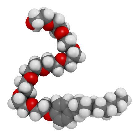 hidr�geno: El nonoxinol-9 mol�cula espermicida. Los �tomos se representan como esferas con codificaci�n de colores convencionales: hidr�geno (blanco), carb�n (gris), ox�geno (rojo). Foto de archivo
