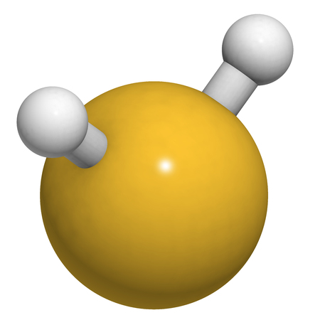 sulphide: Hydrogen sulfide (H2S) molecule. Toxic gas with characteristic odor of rotten eggs. Atoms are represented as spheres with conventional color coding: hydrogen (white), sulfur (yellow). Stock Photo