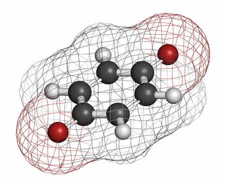 Benzoquinone (quinone, para-benzoquinone) molecule. Atoms are represented as spheres with conventional color coding: hydrogen (white), carbon (grey), oxygen (red).