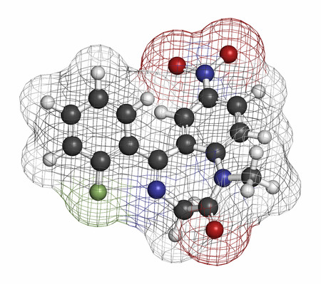 relaxant: Flunitrazepam hypnotic drug molecule. Atoms are represented as spheres with conventional color coding: hydrogen (white), carbon (grey), oxygen (red), nitrogen (blue), fluorine (light green). Stock Photo