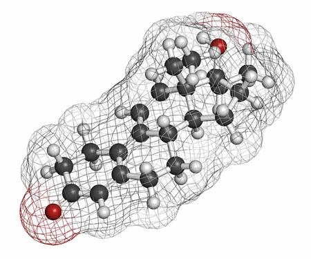 hidr�geno: Tetrahidrogestrinona (THG) mol�cula esteroide anab�lico. Los �tomos se representan como esferas con codificaci�n de colores convencionales: hidr�geno (blanco), carb�n (gris), ox�geno (rojo).