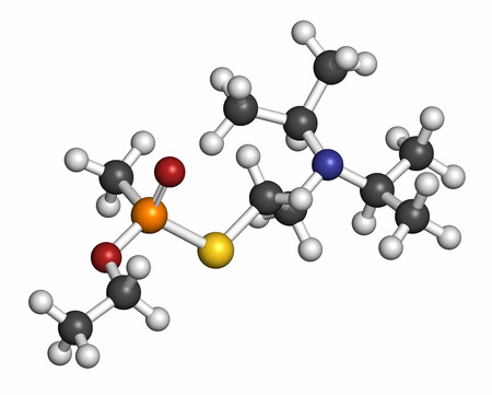 wmd: VX nerve agent molecule (chemical weapon). Atoms are represented as spheres with conventional color coding: hydrogen (white), carbon (grey), oxygen (red), phosphorus (orange), sulfur (yellow).
