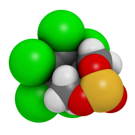 toxicity: Endosulfan insecticide molecule. Banned in many countries due to toxicity. Atoms are represented as spheres with conventional color coding: hydrogen (white), carbon (grey), oxygen (red), chlorine (green), sulfur (yellow). Stock Photo