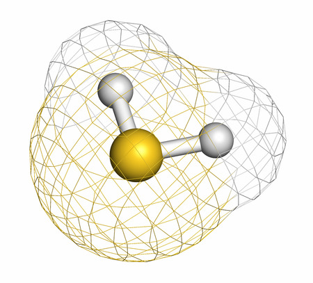 sulfide: Hydrogen sulfide (H2S) molecule. Toxic gas with characteristic odor of rotten eggs. Atoms are represented as spheres with conventional color coding: hydrogen (white), sulfur (yellow). Stock Photo