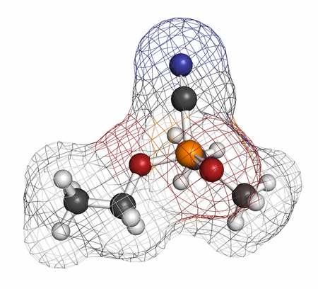 wmd: Tabun nerve agent molecule (chemical weapon). Atoms are represented as spheres with conventional color coding: hydrogen (white), carbon (grey), oxygen (red), phosphorus (orange), nitrogen (blue).