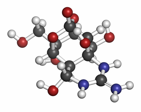 pufferfish: Tetrodotoxin (TTX) pufferfish neurotoxin molecule. Atoms are represented as spheres with conventional color coding: hydrogen (white), carbon (grey), oxygen (red), nitrogen (blue). Stock Photo