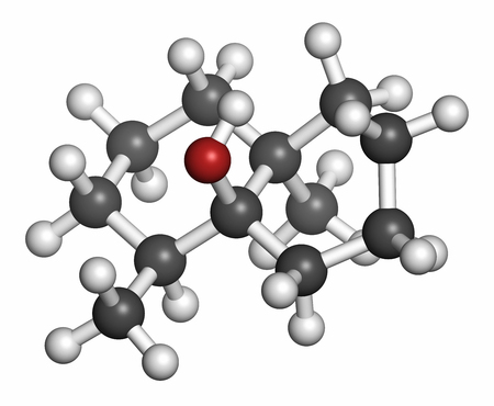 vegetable carbon: Geosmin earthy flavor molecule. Responsible for the typical taste of beetroot. Atoms are represented as spheres with conventional color coding: hydrogen (white), carbon (grey), oxygen (red).