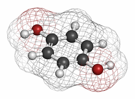 reducing: Hydroquinone reducing agent molecule. Used in development of photographic film. Atoms are represented as spheres with conventional color coding: hydrogen (white), carbon (grey), oxygen (red).