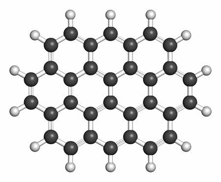 hidrogeno: Mol�cula arom�tica polic�clica ovaleno de hidrocarburos. Los �tomos se representan como esferas con codificaci�n de colores convencionales: hidr�geno (blanco), carb�n (gris).
