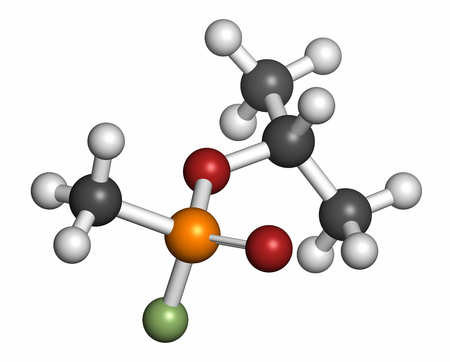 acetylcholinesterase: Sarin nerve agent molecule (chemical weapon). Atoms are represented as spheres with conventional color coding: hydrogen (white), carbon (grey), oxygen (red), phosphorus (orange), fluorine (light green).