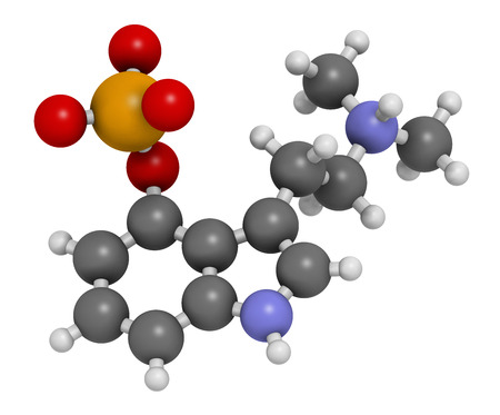 entheogen: Psilocybin psychedelic mushroom molecule. Prodrug of psilocin. Atoms are represented as spheres with conventional color coding: hydrogen (white), carbon (grey), oxygen (red), nitrogen (blue), phosphorus (orange). Stock Photo