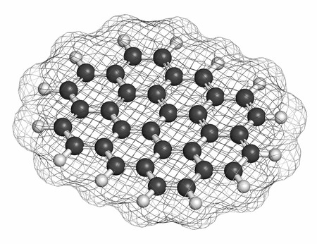 hydrocarbon: Ovalene polycyclic aromatic hydrocarbon molecule. Atoms are represented as spheres with conventional color coding: hydrogen (white), carbon (grey).