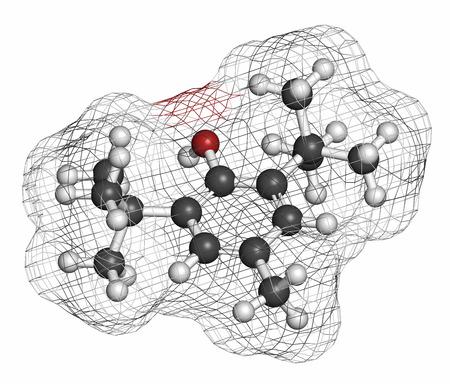 hidrogeno: hidroxitolueno butilado (BHT) mol�cula antioxidante. Los �tomos se representan como esferas con codificaci�n de colores convencionales: hidr�geno (blanco), carbono (gris), ox�geno (rojo). Foto de archivo