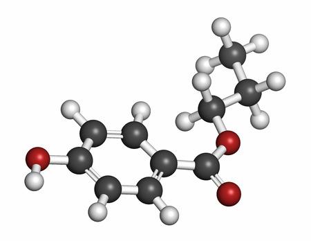 hidrogeno: Mol�cula de conservante propilparabeno (clase paraben). Los �tomos se representan como esferas con codificaci�n de colores convencionales: hidr�geno (blanco), carb�n (gris), ox�geno (rojo).