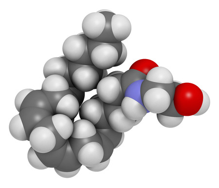 amide: Anandamide endogenous cannabinoid neurotransmitter molecule. Atoms are represented as spheres with conventional color coding: hydrogen (white), carbon (grey), oxygen (red), nitrogen (blue).