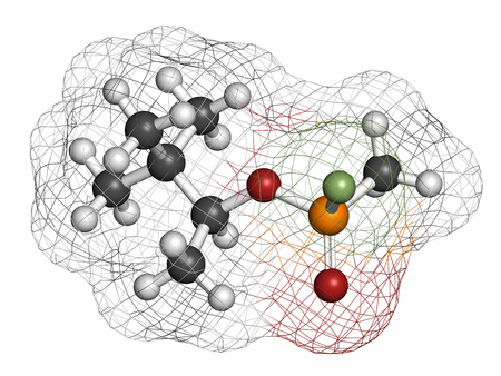 acetylcholinesterase: Soman nerve agent molecule (chemical weapon). Atoms are represented as spheres with conventional color coding: hydrogen (white), carbon (grey), oxygen (red), phosphorus (orange), fluorine (light green).