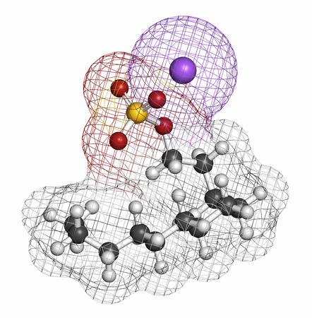 sulfate: Sodium dodecyl sulfate (SDS, sodium lauryl sulfate) surfactant molecule. Commonly used in cleaning products. Atoms are represented as spheres with conventional color coding: hydrogen (white), carbon (grey), oxygen (red), sulfur (yellow), sodium (xxx).