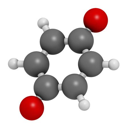 hidr�geno: Benzoquinona (quinona, para-benzoquinona) mol�cula. Los �tomos se representan como esferas con codificaci�n de colores convencionales: hidr�geno (blanco), carb�n (gris), ox�geno (rojo). Foto de archivo