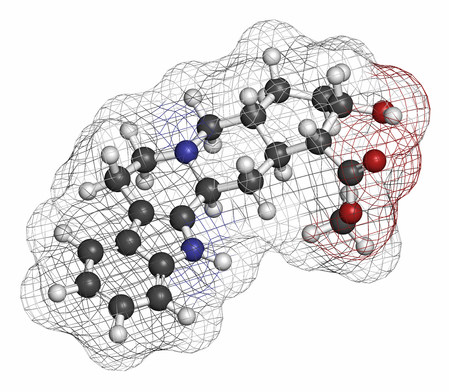 aphrodisiac: Yohimbine alkaloid molecule. Used as aphrodisiac drug. Atoms are represented as spheres with conventional color coding: hydrogen (white), carbon (grey), oxygen (red), nitrogen (blue). Stock Photo