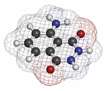 nitrogen: Luminol chemiluminescent molecule. Used to detect blood at crime scenes. Atoms are represented as spheres with conventional color coding: hydrogen (white), carbon (grey), oxygen (red), nitrogen (blue). Stock Photo
