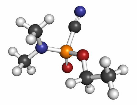 Tabun nerve agent molecule (chemical weapon). Atoms are represented as spheres with conventional color coding: hydrogen (white), carbon (grey), oxygen (red), phosphorus (orange), nitrogen (blue).
