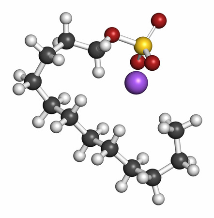 sulfate: Sodium dodecyl sulfate (SDS, sodium lauryl sulfate) surfactant molecule. Commonly used in cleaning products. Atoms are represented as spheres with conventional color coding: hydrogen (white), carbon (grey), oxygen (red), sulfur (yellow), sodium (purple).