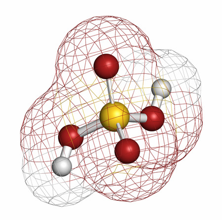 electrolyte: Sulfuric acid (H2SO4) strong mineral acid molecule. Atoms are represented as spheres with conventional color coding: hydrogen (white), oxygen (red), sulfur (yellow). Stock Photo