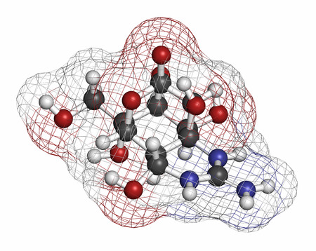 triggerfish: Tetrodotoxin (TTX) pufferfish neurotoxin molecule. Atoms are represented as spheres with conventional color coding: hydrogen (white), carbon (grey), oxygen (red), nitrogen (blue). Stock Photo