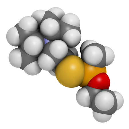 VX nerve agent molecule (chemical weapon). Atoms are represented as spheres with conventional color coding: hydrogen (white), carbon (grey), oxygen (red), phosphorus (orange), sulfur (yellow).