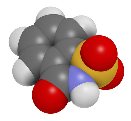 aftertaste: Saccharin artificial sweetener molecule (sugar substitute). Atoms are represented as spheres with conventional color coding: hydrogen (white), carbon (grey), oxygen (red), nitrogen (blue), sulfur (yellow).