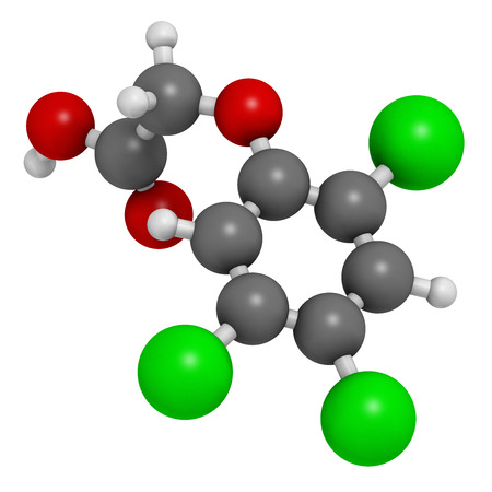 acetic acid: 2,4,5-trichlorophenoxyacetic acid (2,4,5-T) herbicide molecule. Ingredient of Agent Orange. Atoms are represented as spheres with conventional color coding: hydrogen (white), carbon (grey), oxygen (red), chlorine (green).