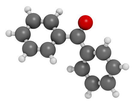 initiator: Benzophenone molecule. Atoms are represented as spheres with conventional color coding: hydrogen (white), carbon (grey), oxygen (red).