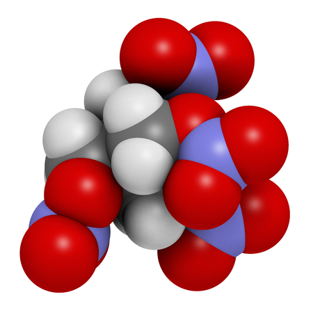 angina: Pentaerythritol tetranitrate (PETN) explosive molecule. Also used as angina drug (nitrate class). Atoms are represented as spheres with conventional color coding: hydrogen (white), carbon (grey), oxygen (red), nitrogen (blue). Stock Photo