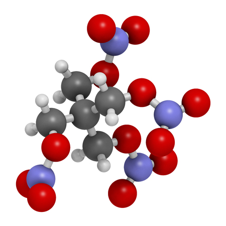 angor: Pentaerythritol tetranitrate (PETN) explosive molecule. Also used as angina drug (nitrate class). Atoms are represented as spheres with conventional color coding: hydrogen (white), carbon (grey), oxygen (red), nitrogen (blue). Foto de archivo