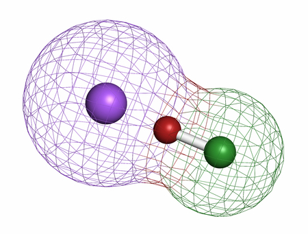 sodium: Sodium hypochlorite (NaOCl) molecule. Aqueous solution is known as (liquid) bleach. Atoms are represented as spheres with conventional color coding: chlorine (green), oxygen (red), sodium (purple). Stock Photo