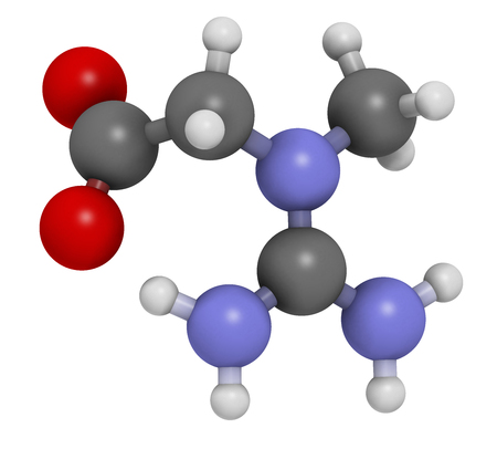 enhancing: Creatine molecule. Often used in food supplements. Atoms are represented as spheres with conventional color coding: hydrogen (white), carbon (grey), oxygen (red), nitrogen (blue). Stock Photo