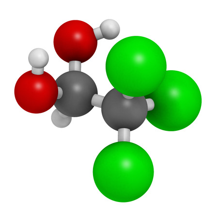 hydrate: Chloral hydrate sedative and hypnotic drug molecule. Atoms are represented as spheres with conventional color coding: hydrogen (white), carbon (grey), oxygen (red), chlorine (green).
