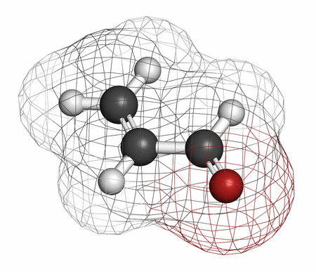 unsaturated fat: Acrolein (propenal) molecule. Toxic molecule that is formed when fat or oil is heated and is present in e.g. french fries.  Atoms are represented as spheres with conventional color coding: hydrogen (white), carbon (grey), oxygen (red). Stock Photo