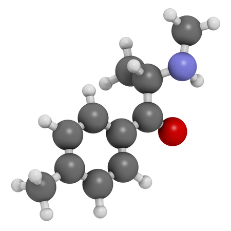 stimulant: Mephedrone (4-MMC, 4-methylmethcathinone, 4-methylephedrone) stimulant drug molecule (designer drug). Atoms are represented as spheres with conventional color coding: hydrogen (white), carbon (grey), oxygen (red), nitrogen (blue). Stock Photo