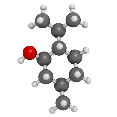 menthol: Menthol molecule. Present in peppermint, corn mints, etc. Atoms are represented as spheres with conventional color coding: hydrogen (white), carbon (grey), oxygen (red). Stock Photo