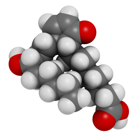 antiviral: Prostaglandin A1 molecule. Atoms are represented as spheres with conventional color coding: hydrogen (white), carbon (grey), oxygen (red).