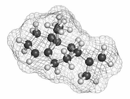 hidrogeno: Valencene c�tricos mol�cula de aroma. Los �tomos se representan como esferas con codificaci�n de color convencional: hidr�geno (blanco). Foto de archivo