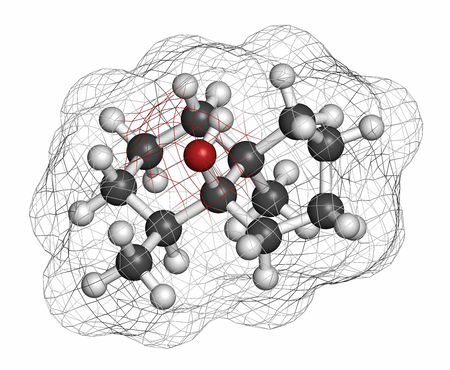 earthy: Geosmin earthy flavor molecule. Responsible for the typical taste of beetroot. Atoms are represented as spheres with conventional color coding: hydrogen (white), carbon (grey), oxygen (red).