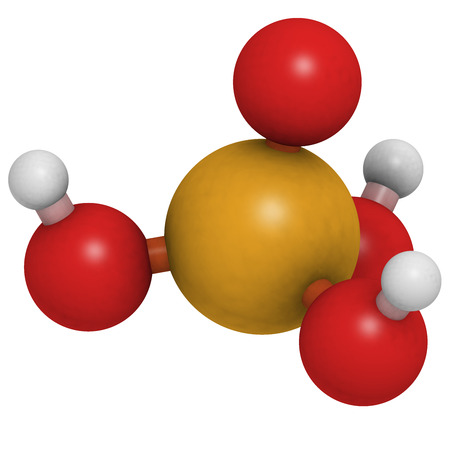 buffers: Phosphoric acid mineral acid molecule. Used in fertilizer production, biological buffers, as food additive, etc. Atoms are represented as spheres with conventional color coding: hydrogen (white), oxygen (red), phosphorus (orange).