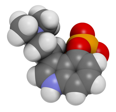 vegetable carbon: Psilocybin psychedelic mushroom molecule. Prodrug of psilocin. Atoms are represented as spheres with conventional color coding: hydrogen (white), carbon (grey), oxygen (red), nitrogen (blue), phosphorus (orange). Stock Photo