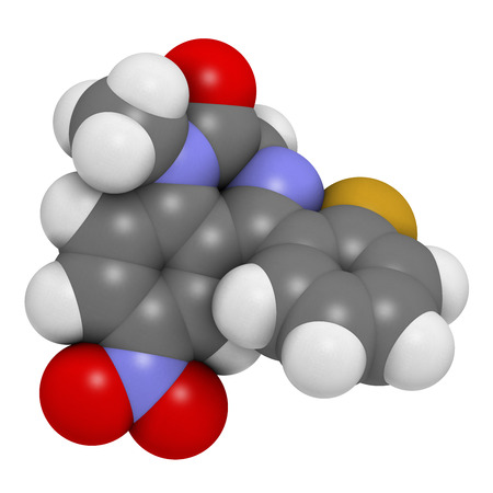 anticonvulsant: Flunitrazepam hypnotic drug molecule. Atoms are represented as spheres with conventional color coding: hydrogen (white), carbon (grey), oxygen (red), nitrogen (blue), fluorine (gold). Stock Photo